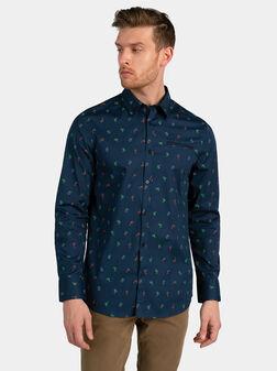 Синя риза SUNSET с цветен принт - 1