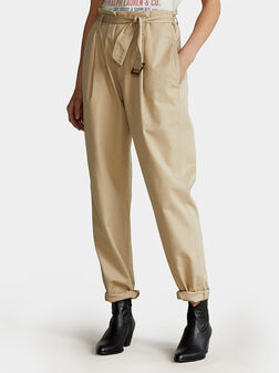 Cotton pants with paperbag waist - 1