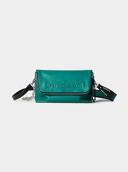 Кросбоди чанта в зелен цвят с цип - 1