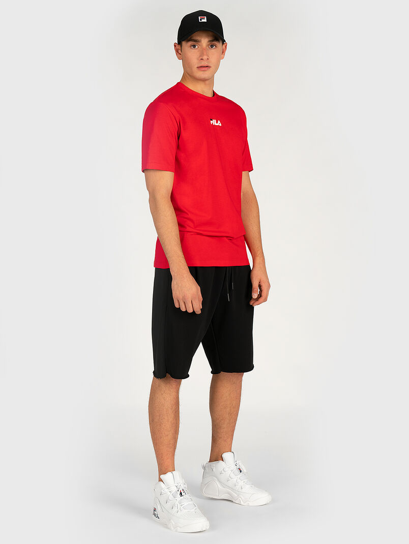 Red T-shirt with maxi logo print - 3