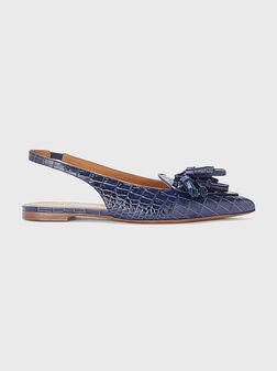 Кожени обувки в син цвят - 1
