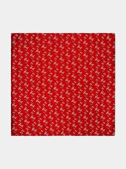 Червена кърпичка с флорални бродерии - 1