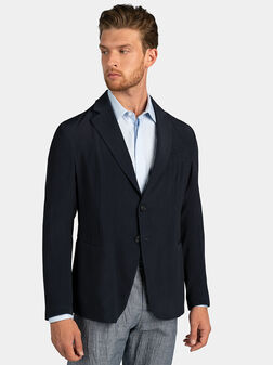 Dark blue jacket with wrinkled effect - 1