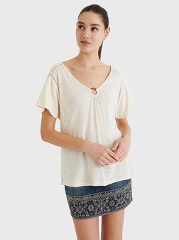 Ленена блуза ALBERTI с контрастни елементи - 1