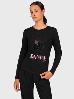 Черна блуза с апликации - 1