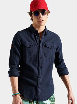 Риза в тъмно син цвят - 1