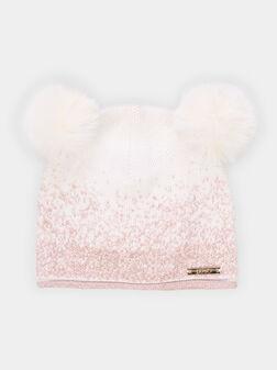 Плетена шапка с два помпона - 1