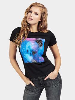 ARLEEN Black cotton t-shirt with print - 1