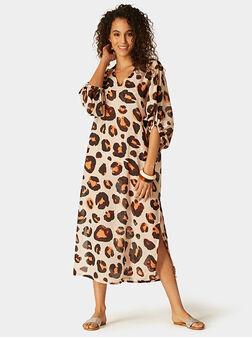 Плажна рокля с животински принт - 1