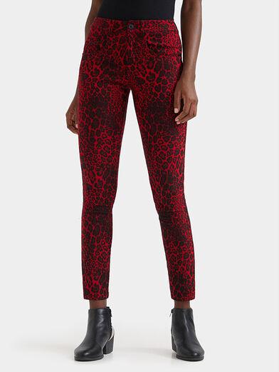 Animal print slim trousers - 1