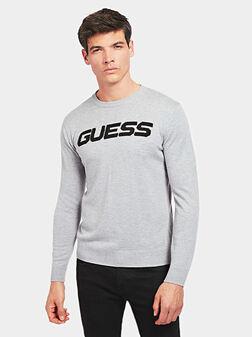Сив пуловер с лого надпис - 1