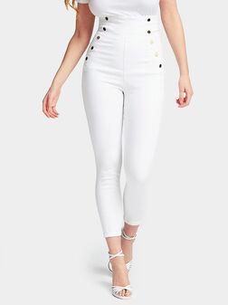 Бял панталон от деним GWEN с висока талия - 1