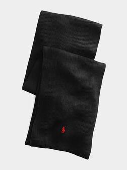 Black scarf from merino wool - 1