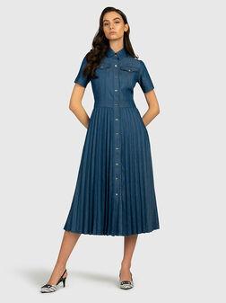 Pleated denim dress - 1