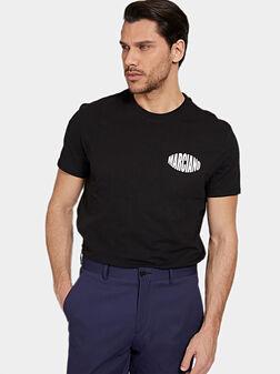 Black T-shirt with contrasting logo print - 1