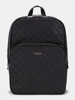 Black backpack with emobossed logo print - 1