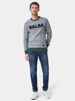 Сив пуловер с лого - 1