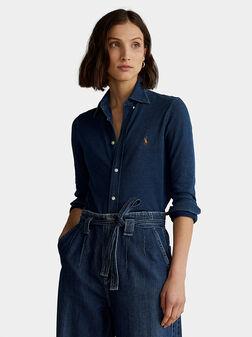 Синя памучна риза с бродирано лого - 1