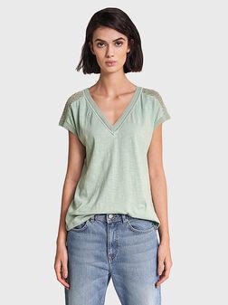 Памучна зелена блуза - 1