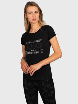 T-shirt with gold-colored logo print - 1