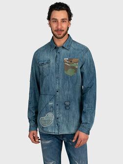 Denim shirt with tears - 1