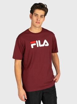 Унисекс памучна тениска с лого принт - 1