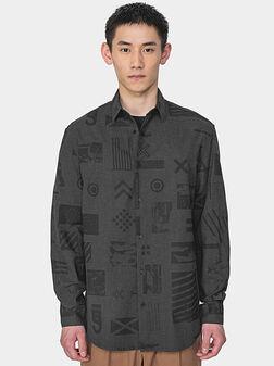 Памучна овърсайз риза в сив цвят - 1