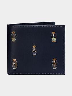 Leather wallet in dark blue - 1