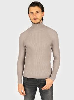 Пуловер от плетиво с поло яка - 1