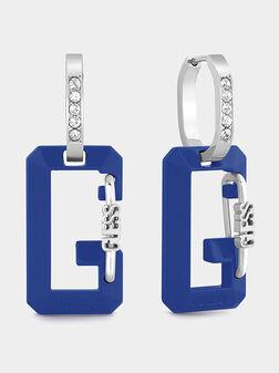 Earrings with logo detail in blue - 1