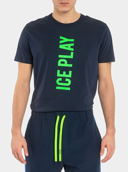 Памучна тениска с лого принт - 1