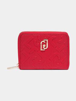 Червено портмоне с релефен лого принт - 1