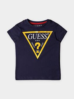 Синя тениска с жълто лого - 1