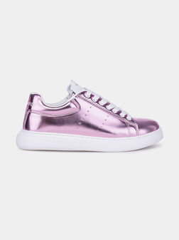 Metallic effect sneakers in pink color - 1