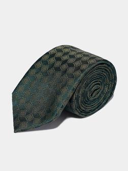 Silk tie in green color - 1