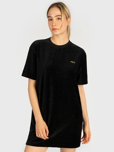 Velvet tee dress with logo embroidery - 1