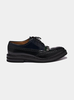 Кожени Дерби обувки с броуг перфорации - 1