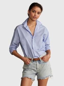 Памучна риза в син цвят - 1
