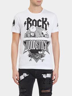 Памучна тениска с Rock Woodstock принт - 1