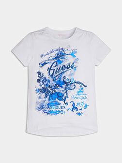 Бялa тениска със син принт - 1