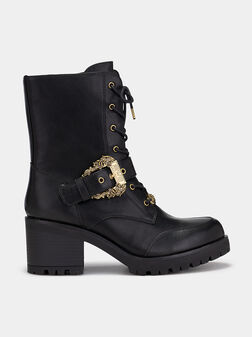 Black ankle boots with logo buckle - 1