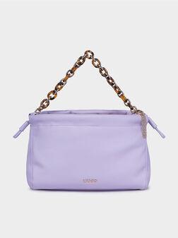 Чанта в лилав цвят с акцентна дръжка - 1