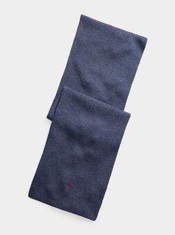 Scarf in blue from merino wool - 1
