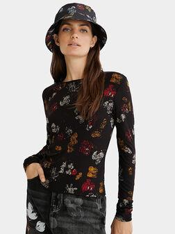 Блуза с принт на Mickey Mouse - 1