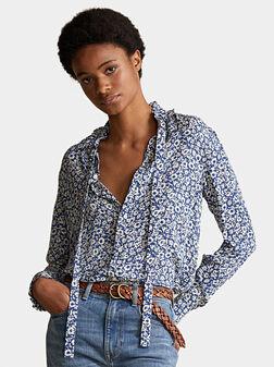 Копринена риза с флорален принт - 1