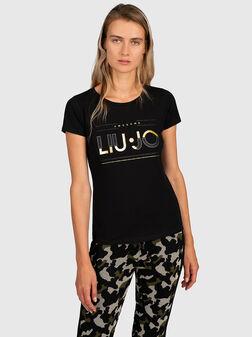 Тениска със златист лого принт - 1