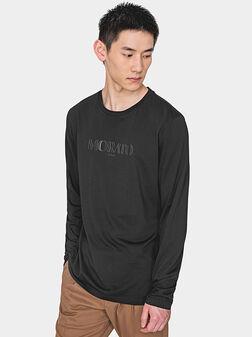 Памучна черна блуза с лого принт - 1