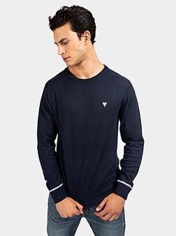Пуловер с триъгълно лого в син цвят - 1