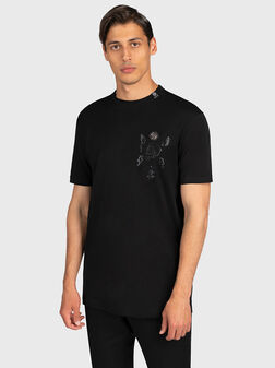 Black t-shirt with decorative details - 1