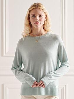 Пуловер в светлосин цвят - 1